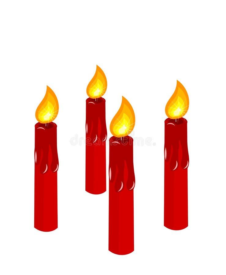 Velas ardentes vermelhas do advento ilustração do vetor