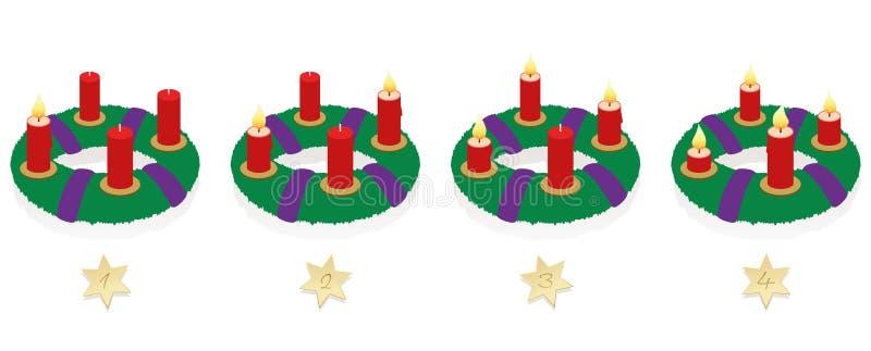 Velas ardientes de Advent Wreath On Four Sundays libre illustration