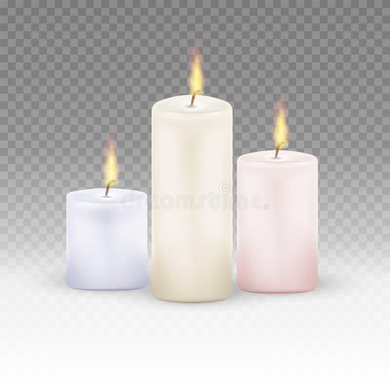 Velas ardientes fijadas Velas realistas de la llama de luz del fuego aislada en fondo transparente Ilustración del vector libre illustration