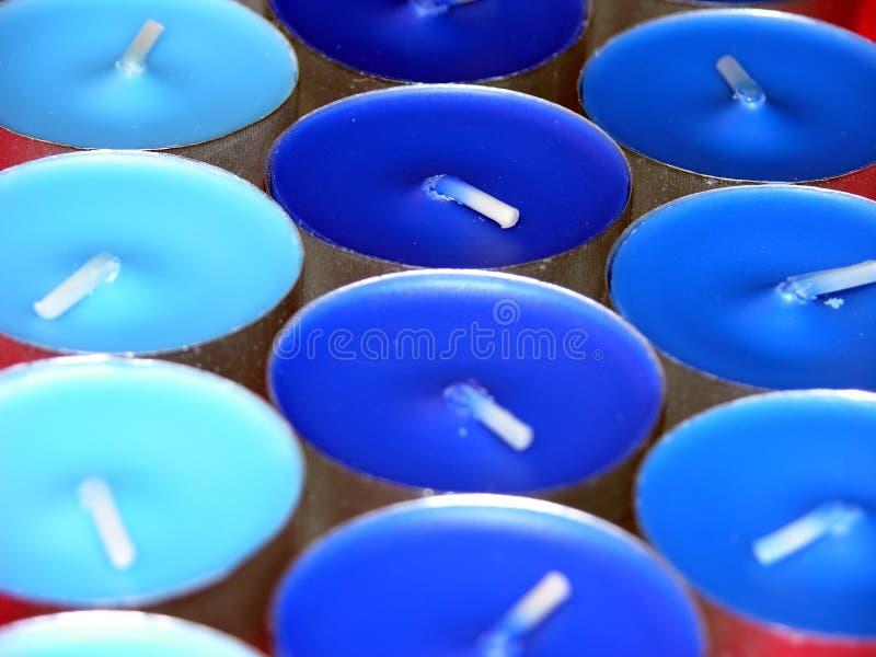 Velas azules imagen de archivo