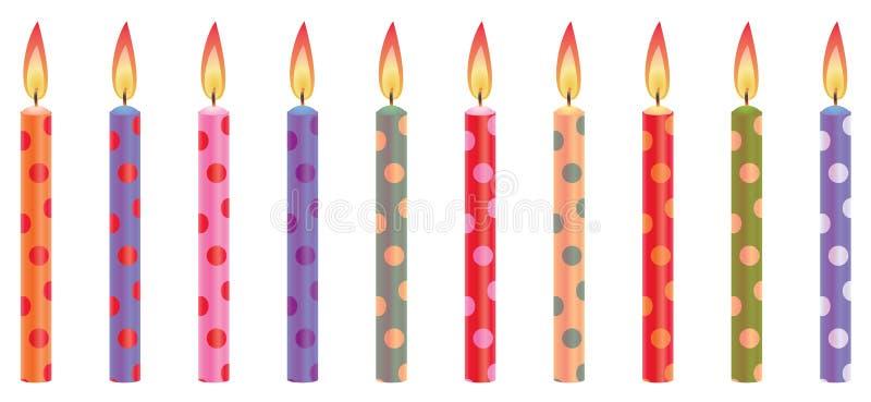 Velas coloridas del cumpleaños stock de ilustración