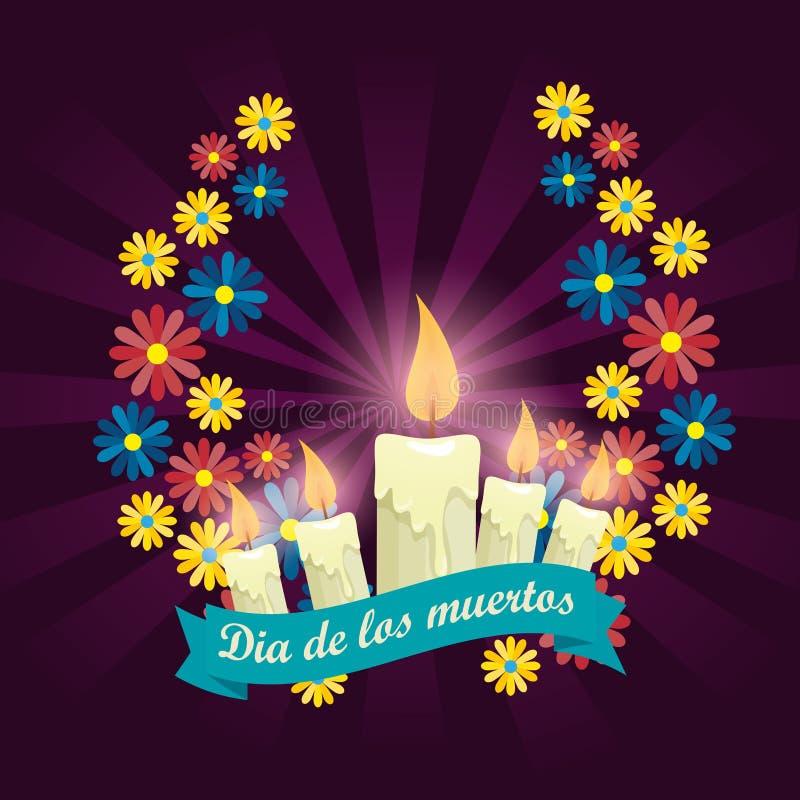 Velas com as flores para comemorar o dia dos mortos ilustração stock