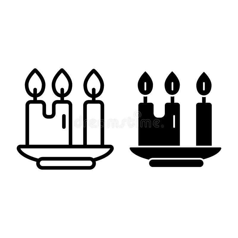 Velas da linha e o ícone do glyph O castiçal com três velas vector a ilustração isolada no branco Estilo claro do esboço ilustração royalty free