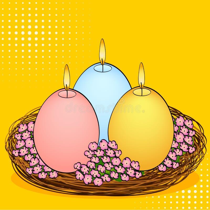 Velas da Páscoa do pop art na forma de um ovo Três partes de cores diferentes com fogo, em um ninho da cesta e em flores ilustração do vetor
