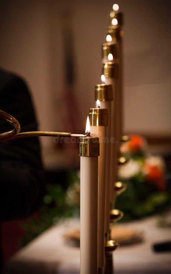 Velas de la boda imagen de archivo