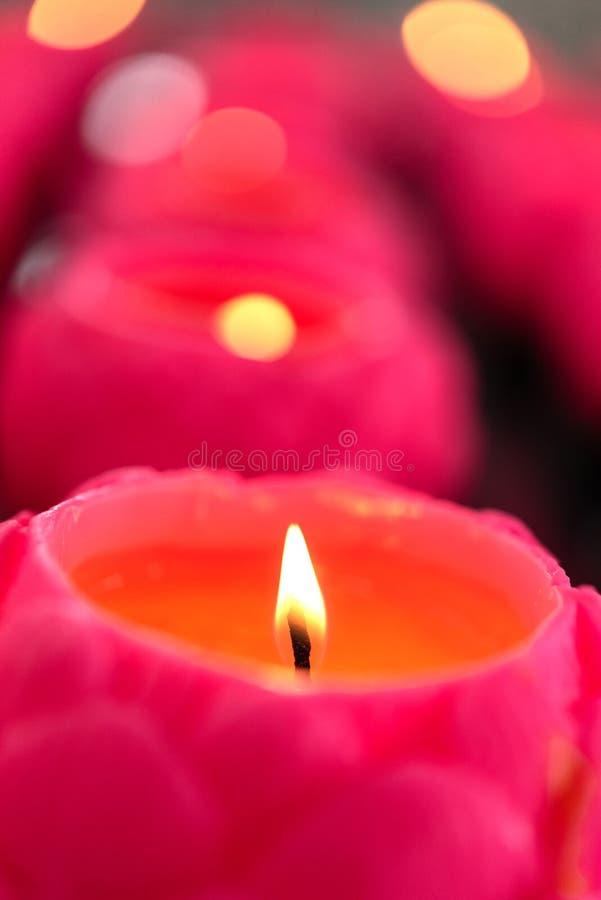 Velas de la flor que queman en la noche fotos de archivo libres de regalías