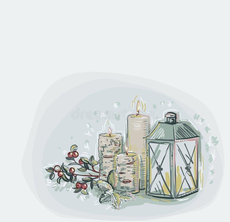 Velas de la lámpara de los copos de nieve del vector de tarjeta de Navidad del color de fondo suave azul de estilo en colores pas stock de ilustración