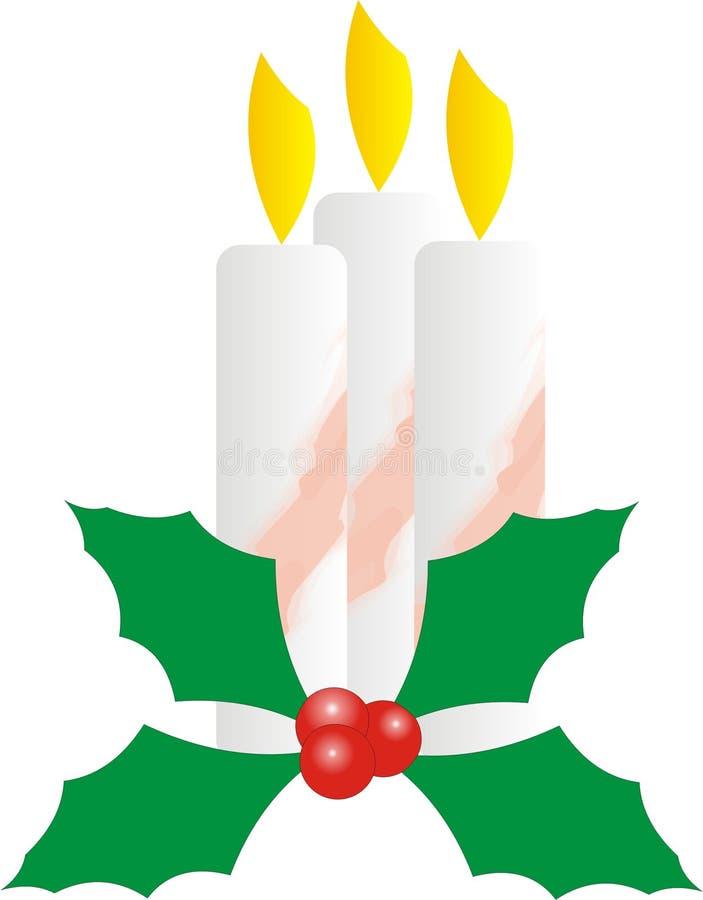 Velas de la Navidad con acebo y rayas rojas fotografía de archivo libre de regalías