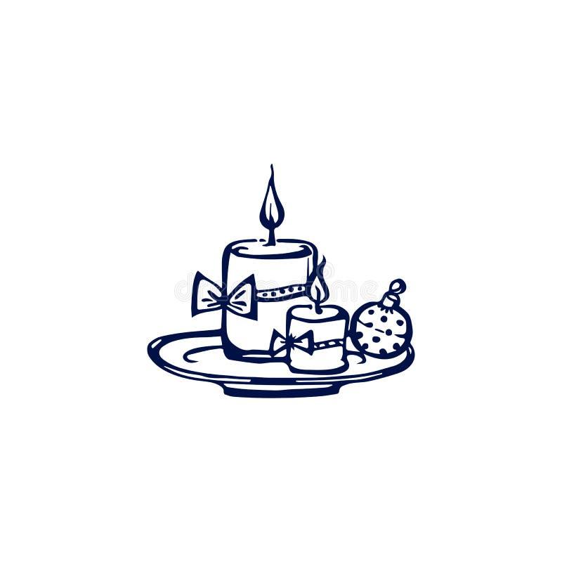 Velas de Natal desenhadas à mão isoladas em fundo branco ilustração royalty free