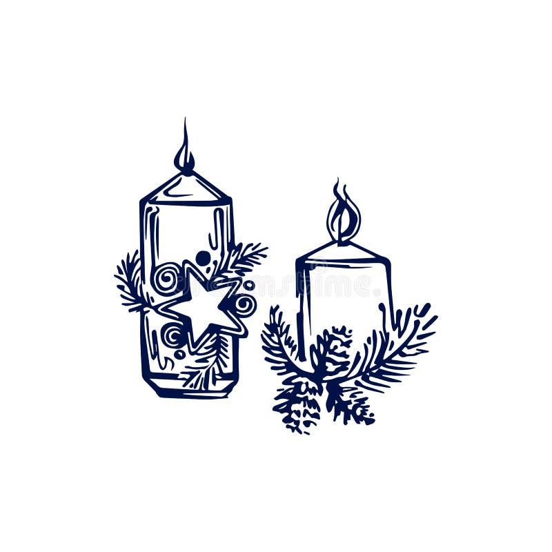 Velas de Natal desenhadas à mão isoladas em fundo branco ilustração do vetor