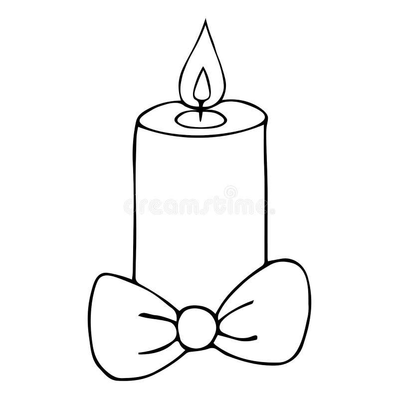 velas de Navidad con arco Llama caliente Fondo incoloro Libro de coloración para niños Divinización Navidad Hora de Navidad libre illustration