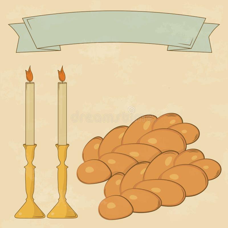 Velas de Shabbat, copo do kiddush e Chalá ilustração do vetor