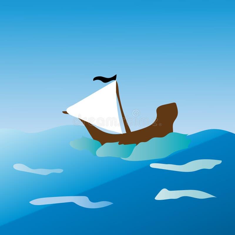 Velas del barco pirata en el mar imagen de archivo