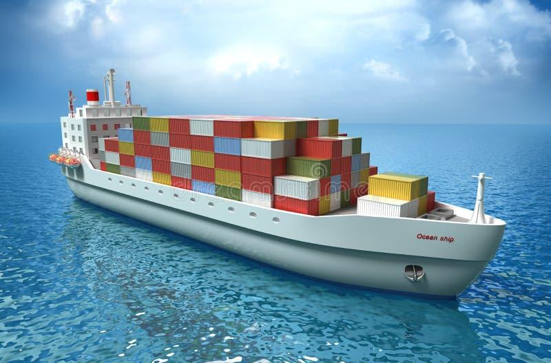 Velas del buque de carga a través del océano ilustración del vector