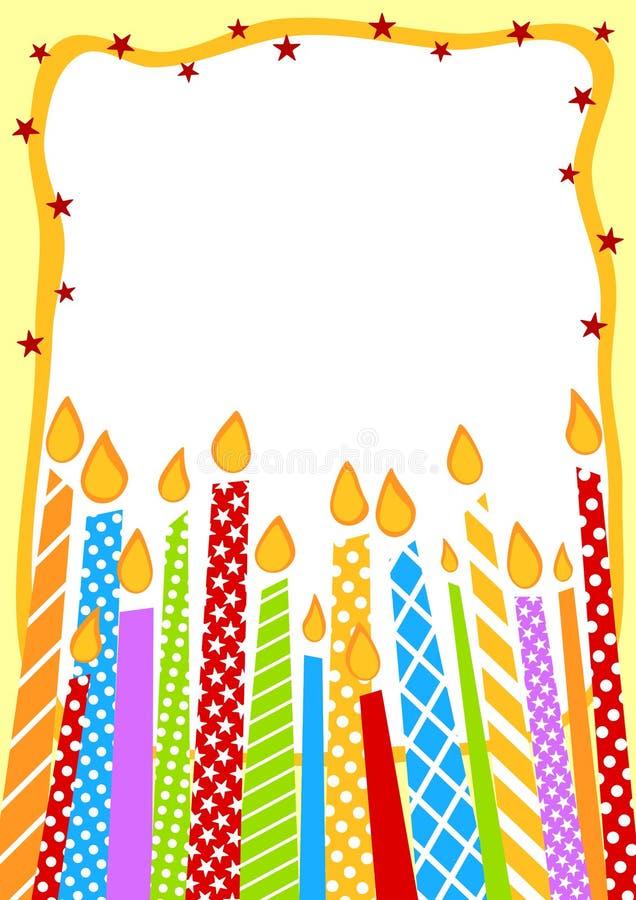 Velas Del Cumpleaños De Tarjeta De La Invitación Stock De