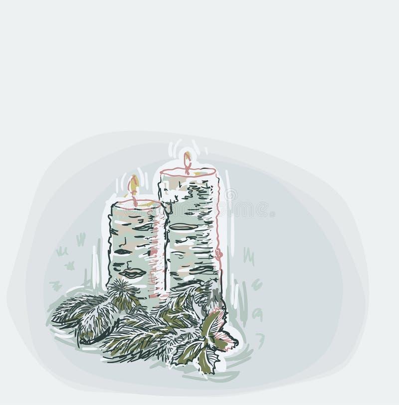 Velas del vector de tarjeta de Navidad del color de fondo suave azul de estilo en colores pastel de la pintura ilustración del vector
