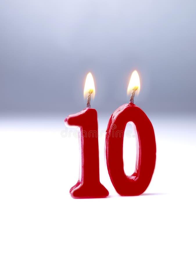 Velas do aniversário que mostram Nr. 10 fotografia de stock