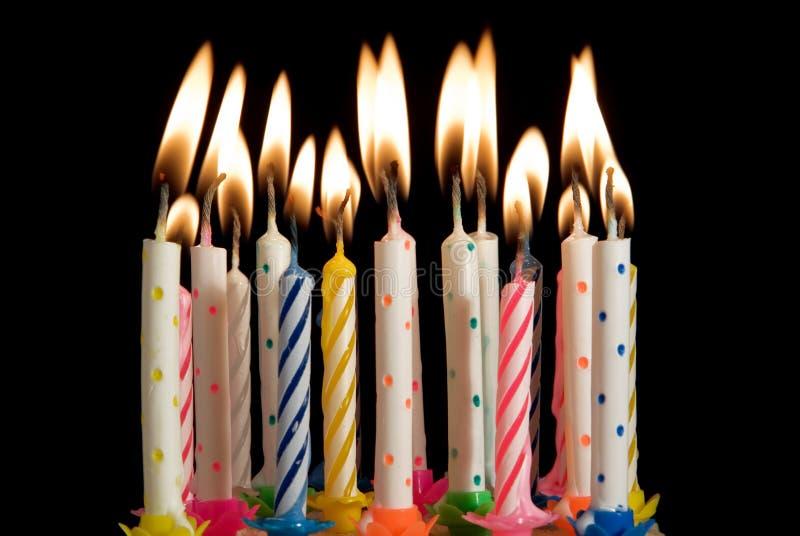 Velas do bolo de aniversário imagens de stock