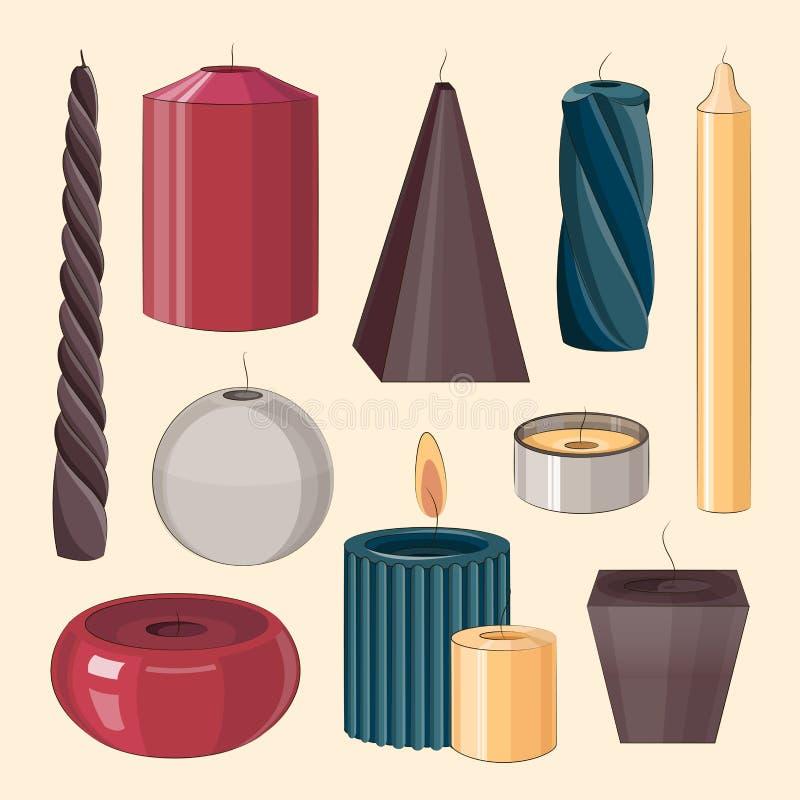 Velas do grupo do ícone ilustração do vetor