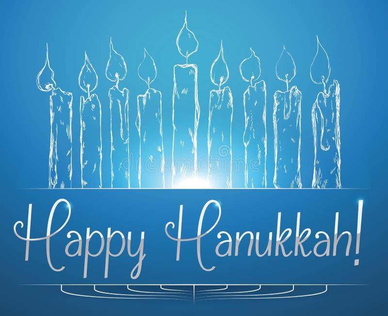 Velas do Hanukkah que brilham no fundo azul, ilustração do vetor ilustração do vetor