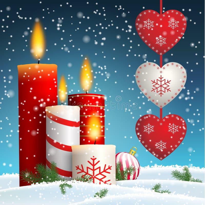 Velas do Natal na paisagem nevado com corações de suspensão ilustração royalty free