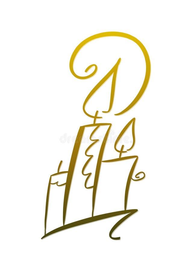 Velas douradas ilustração royalty free