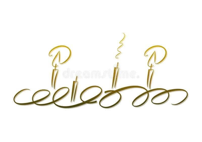 Velas douradas: Grinalda do advento ilustração do vetor
