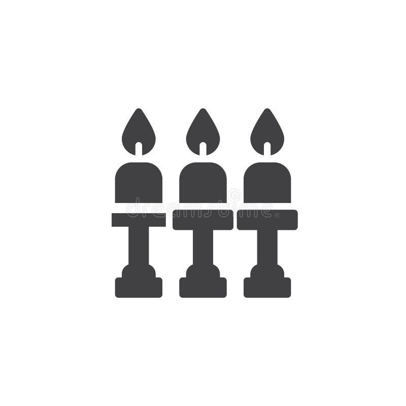 Velas e ícone do vetor do castiçal ilustração do vetor