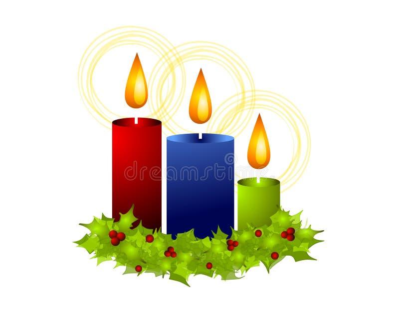 Velas e azevinho do Natal ilustração do vetor