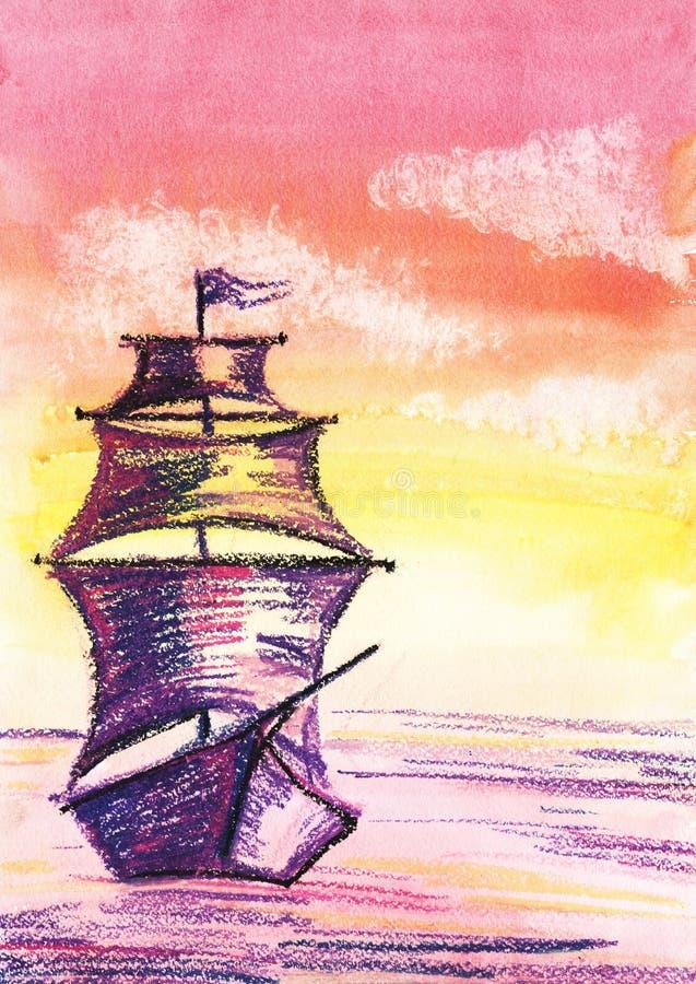 Velas feericamente do navio de navigação em um mar calmo do por do sol Ilustração romântica da aquarela Desenhado à mão no papel ilustração royalty free