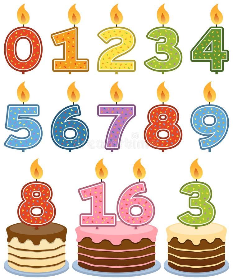 Velas numeradas do aniversário ilustração do vetor