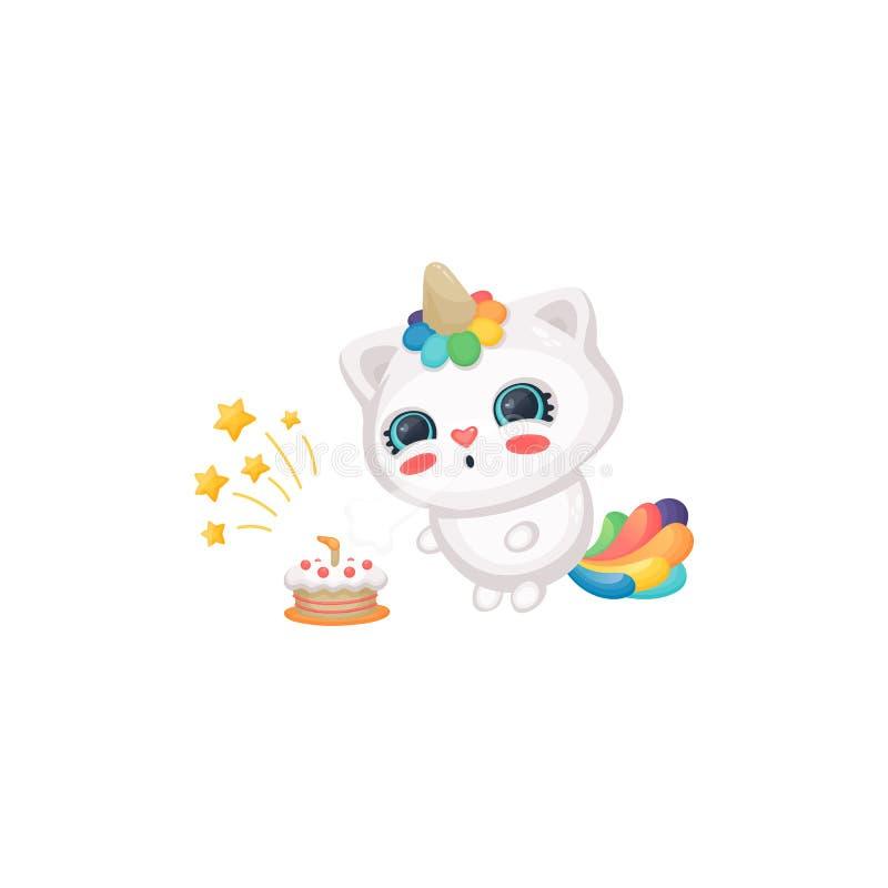 Velas que soplan del unicornio del gato de la historieta en la torta de cumpleaños, el gatito blanco feliz lindo con el cuerno de ilustración del vector