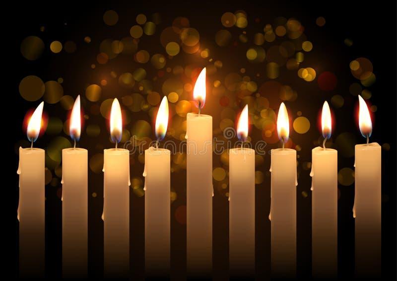 Velas realísticas do vetor do Hanukkah sobre o fundo do bokeh Criado com a malha do inclinação ilustração royalty free