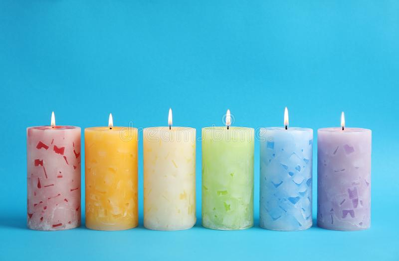 Velas scented da cera Alight fotografia de stock