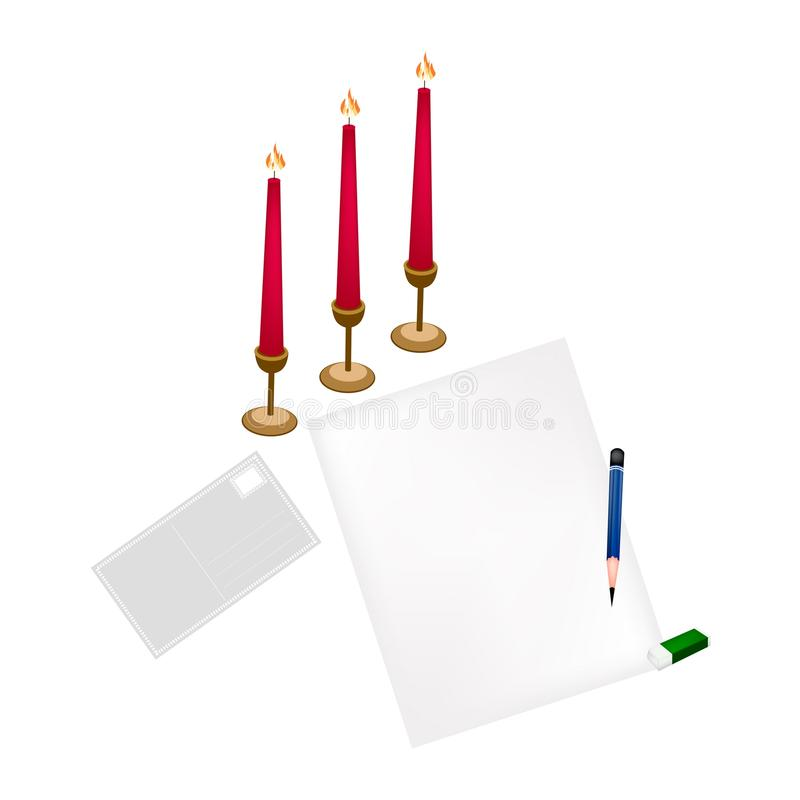 Velas vermelhas na página vazia e no envelope ilustração stock