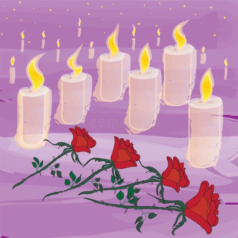 Velas y flores de la iluminación en ceremonia de luto ilustración del vector