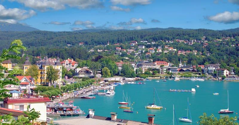 Velden, lago Woerthersee, Carinthia, Áustria fotos de stock
