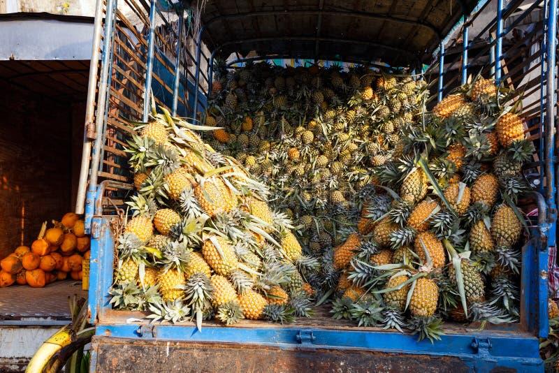 Vele ananassen in vrachtwagen royalty-vrije stock afbeeldingen