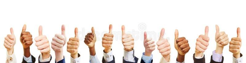 Vele bedrijfsmensen tonen duimen stock afbeeldingen