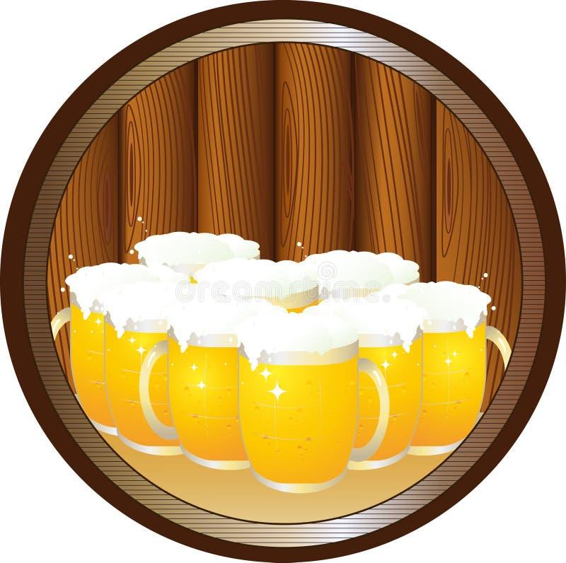 Vele biermokken op dienblad in rond stock illustratie
