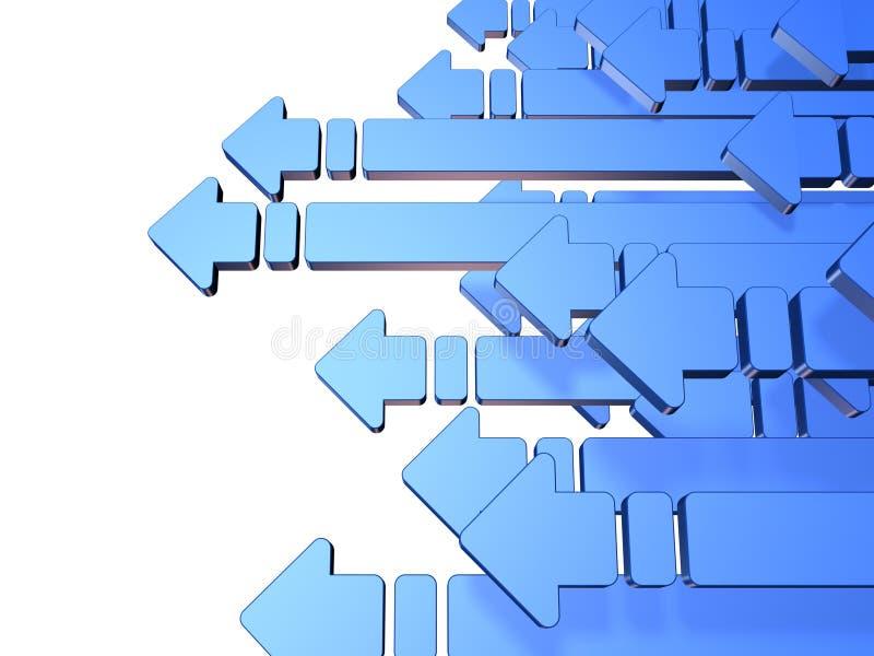 Vele blauwe pijlen gaan naar de linkerzijde. stock illustratie