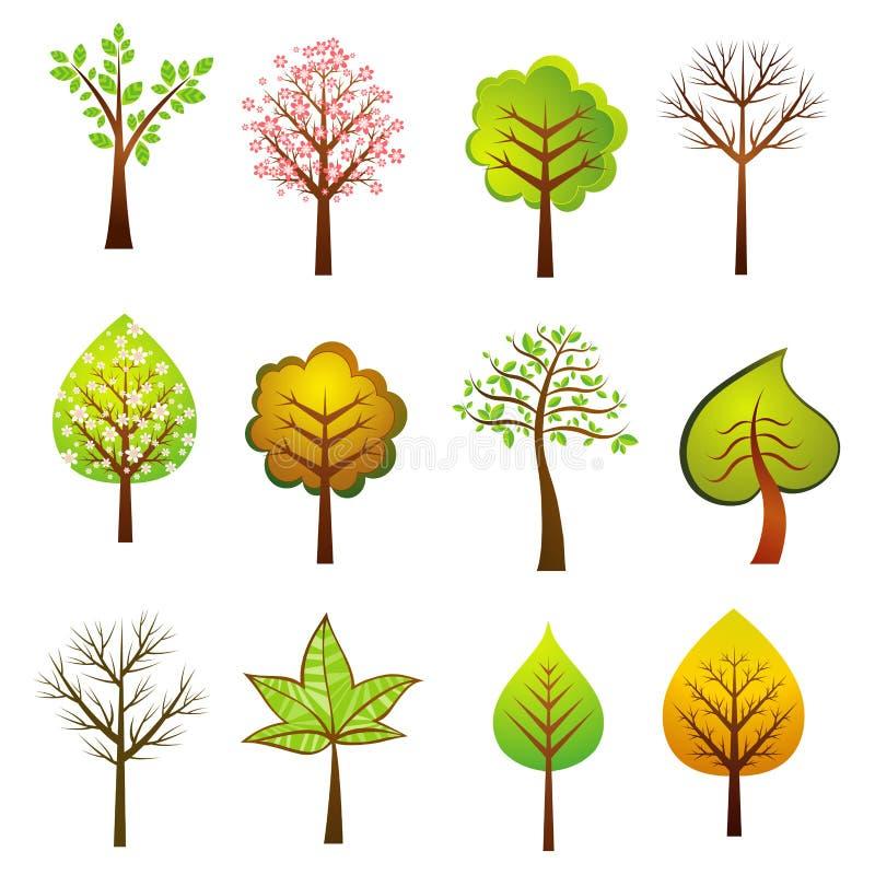 Vele bomen, vector stock illustratie