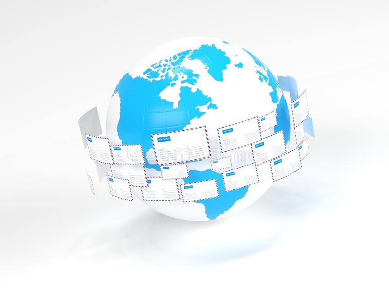 Vele brievenvlieg in een cirkel Internet-post Levering van correspondentie wereldwijd royalty-vrije illustratie