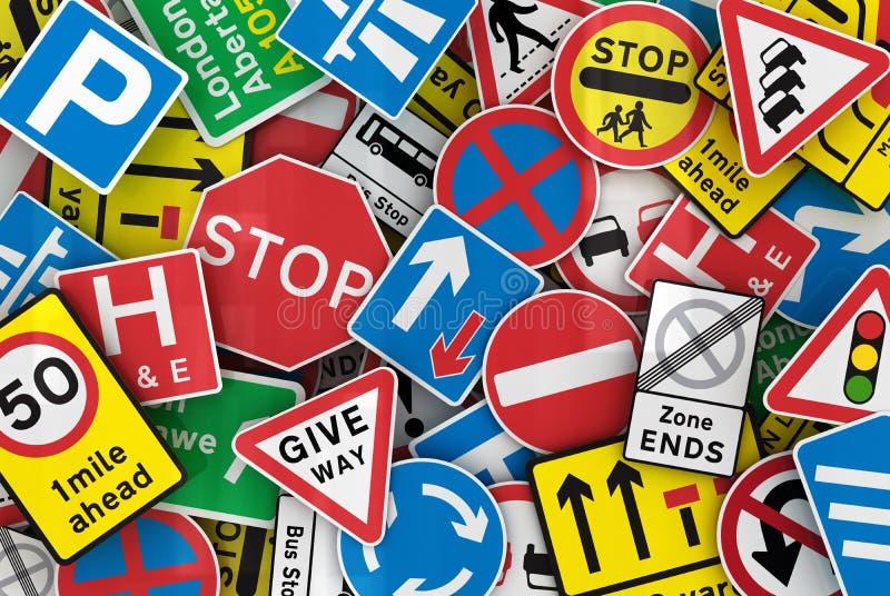 Vele Britse verkeersteken vector illustratie