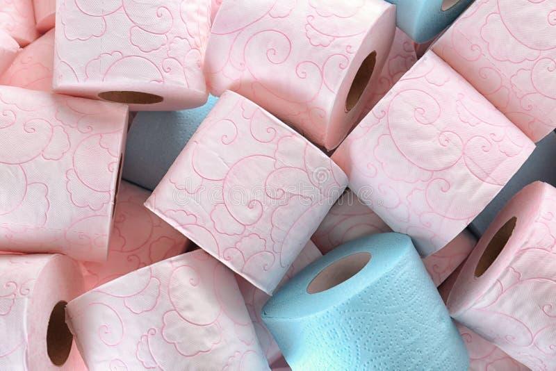 Vele broodjes van toiletpapier als achtergrond royalty-vrije stock foto's