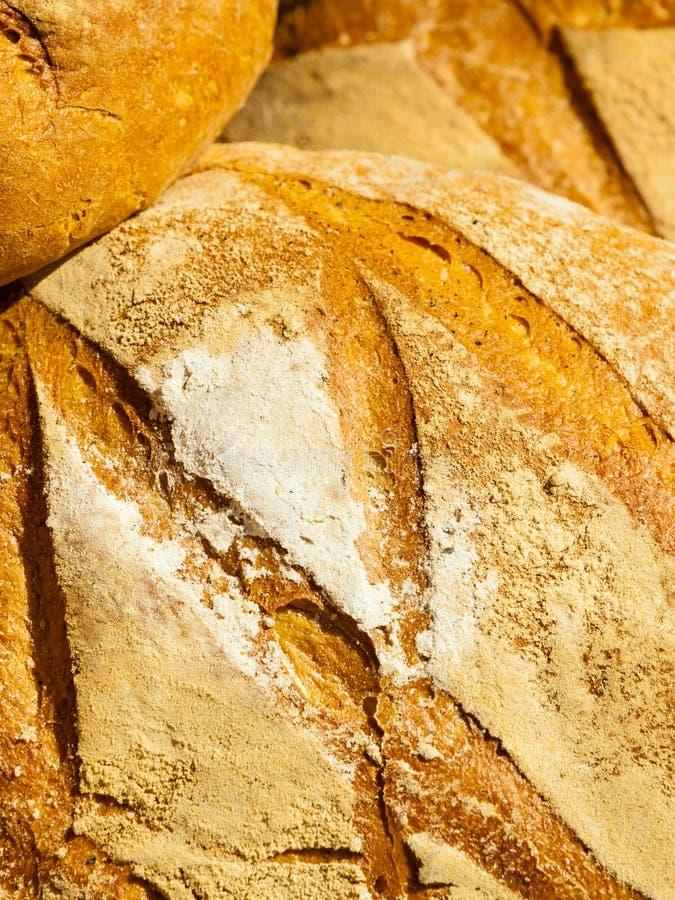 Vele bruine rustieke verse broden van het roggebrood als voedselachtergrond royalty-vrije stock foto's