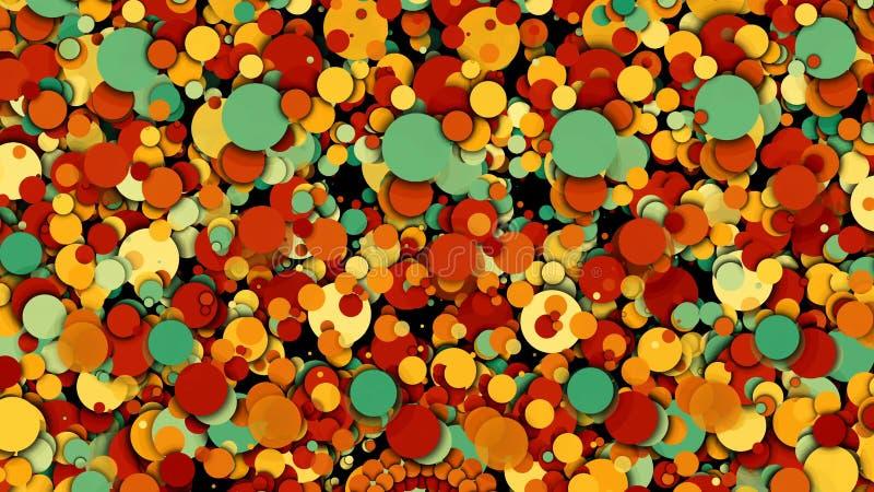 Vele chaotische kleurrijke cirkels, moderne computer produceerden achtergrond, het 3D teruggeven royalty-vrije illustratie