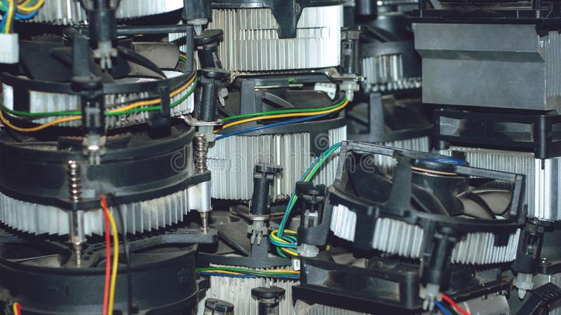 Vele cpu-koelersradiator Koper heatpipes en radiator voor computersbewerker Koelsysteem PC-Computer heatsink koeler royalty-vrije stock foto's
