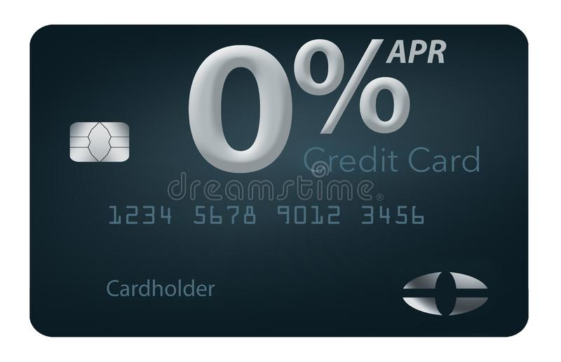 Vele creditcardaanbiedingen omvatten nu nul tarief van het percenten jaarlijks percentage 12-15 maanden en deze generische onecht vector illustratie