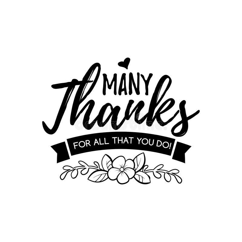 Vele dank voor leraar Gelukkige lerarendag Affiche die van het hand de van letters voorziende ontwerp professionele hoogste graad stock illustratie